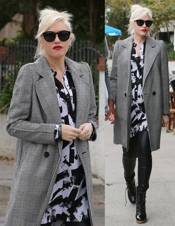 Gwen Stefani wears her platinum hair back in a messy updo while out in Sherman Oaks