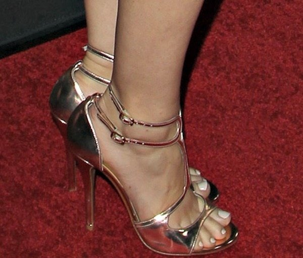 Holland Roden's sexy heels featurerose gold patent leather and adjustable ankle straps