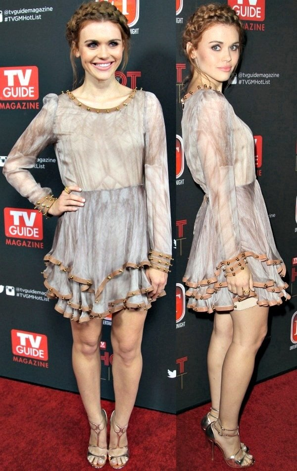 Holland Roden flaunts her sexy legs in a long-sleeved frock from Kristian Aadnevik's Spring 2013 collection