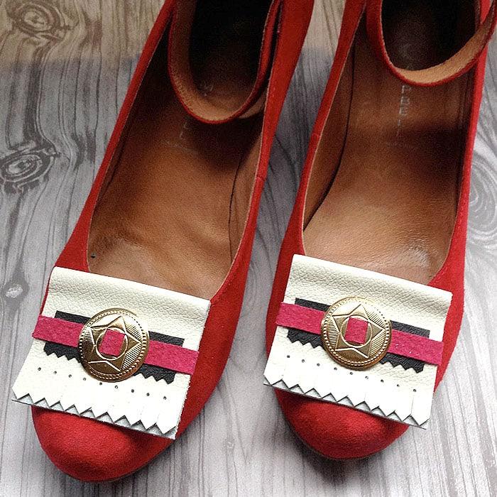 Folded Leather Kiltie Shoe Clips