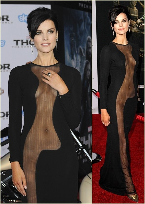 Jaimie Alexander in a very revealing see-through Azzaro Couture gown
