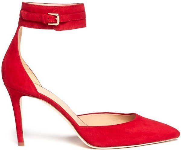 J.Crew Ankle-Strap Pump in Red Suede