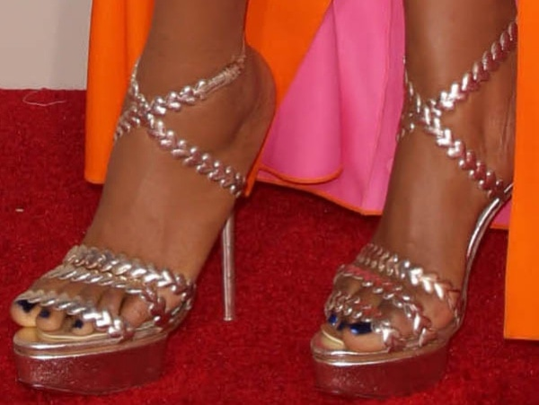 Jennifer Hudson in strappy heels adorned with hearts from Charlotte Olympia