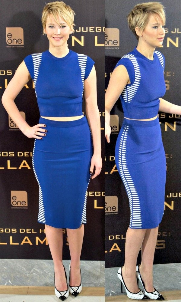 Jennifer Lawrence in a show-stopping electric blue number from Alexander McQueen