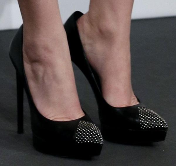 "Jennifer Lawrence wearingSaint Laurent studded ""Janis"" pumps"