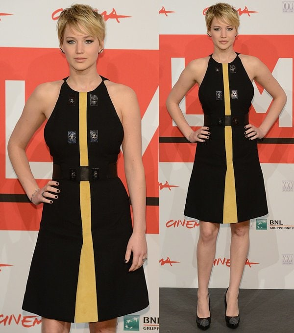 Jennifer Lawrence wearing a black Proenza Schouler dress at a photocall for The Hunger Games: Catching Fire