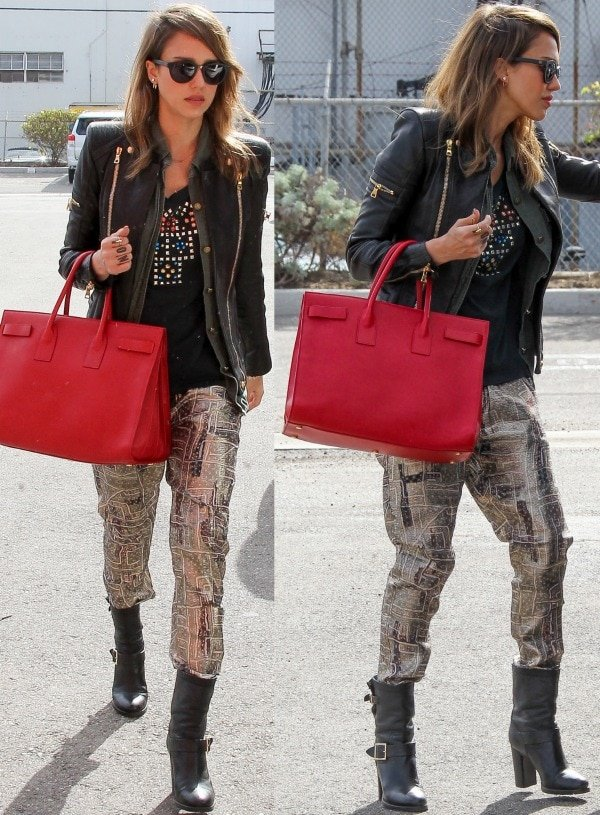 Hollywood darling Jessica Alba was spotted channeling her inner rocker chick while heading to the offices of The Honest Company