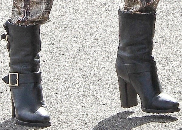Jessica Alba wearing biker boots from Jimmy Choo
