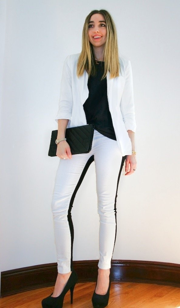Jilly gets sharp in contrasting black and white — a failsafe trick to looking elegant and chic