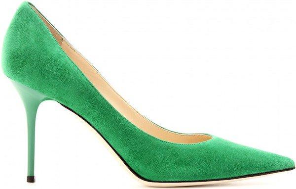 "Jimmy Choo ""Agnes"" Pump in Emerald Suede"