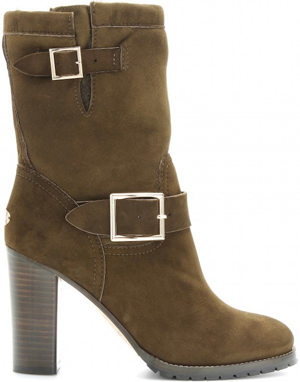 "Jimmy Choo ""Dart"" Suede Boots in Military Green"