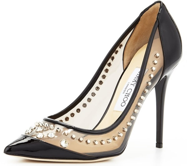 Studs and crystals embellish this glossy, patent leather Jimmy Choo pump for a show-stopping effect