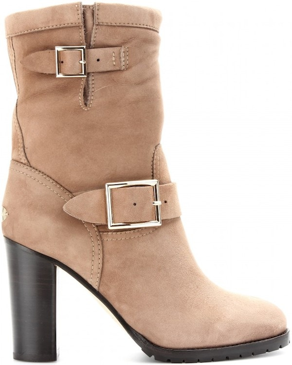 "Jimmy Choo ""Dart"" Suede Boots in Taupe"