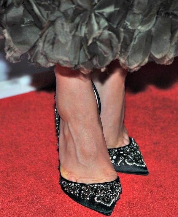 Joanne Froggatt shows off her feet in embellished Artifice pumps