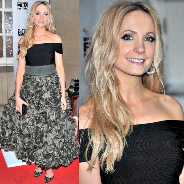 Joanne Froggatt stunned at the 2013 BFI London Film Festival Awards in a black top from Hervé Léger tucked into a gorgeous ruffled skirt from John Rocha