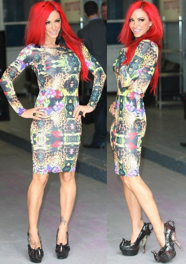 Jodie Marsh in a figure-hugging dress at the ITV Studios in London, England, on June 18, 2012