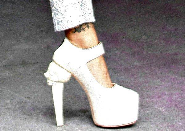 Jodie Marsh a pair of towering skull-heeled pumps from Kermit Tesoro
