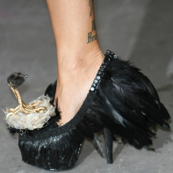 Jodie Marsh wearing custom-designed Bird's Nest shoes by Milly J Shoes