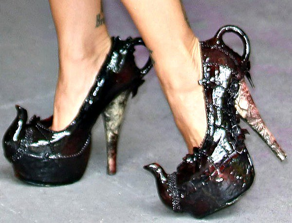 Jodie Marsh in Mad Hatter's Teapot shoes by Milly J Shoes