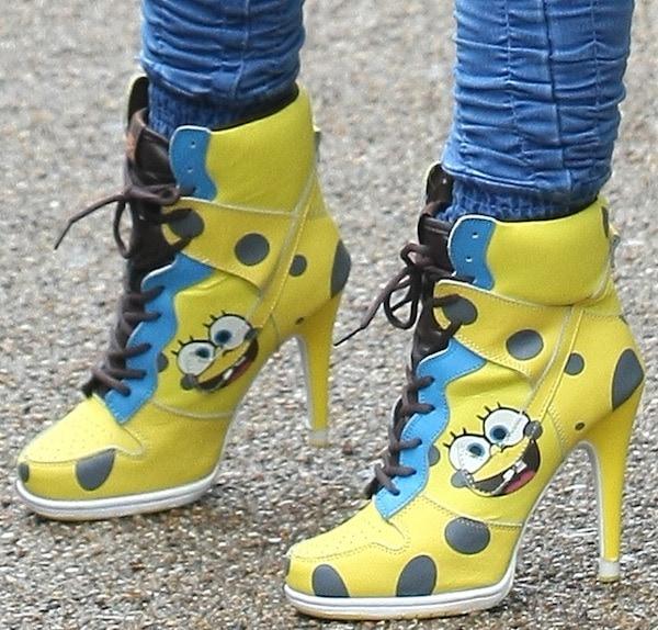 Jodie Marsh wearing SpongeBob SquarePants ankle boots