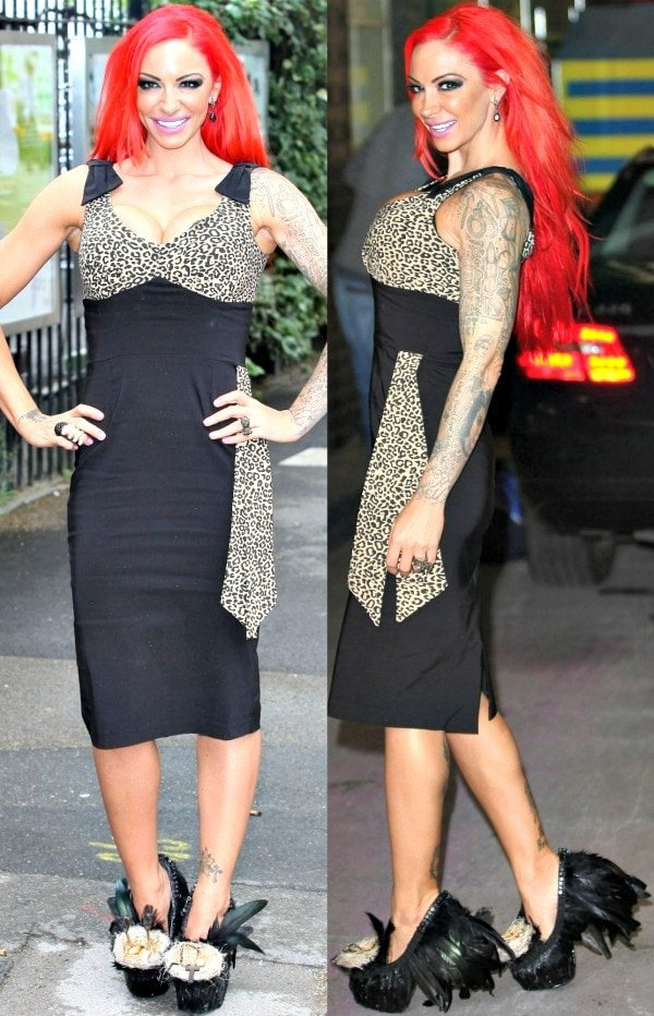 Jodie Marsh wearing a rather grotesque pair of shoes outside the ITV Studios in London, England, on July 3, 2012