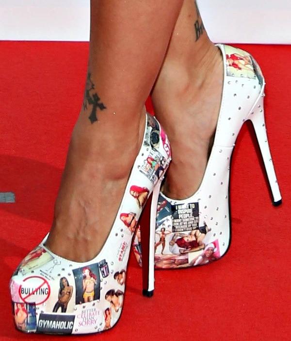 Jodie Marsh wearing custom-designed platform pumps