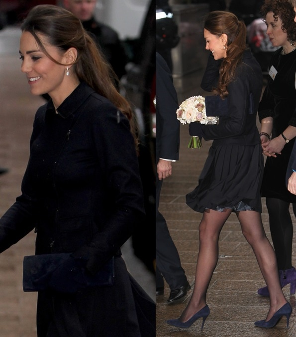 Kate Middleton in a blue Max Mara jacket, a blue Orla Kiely skirt, and blue suede pumps