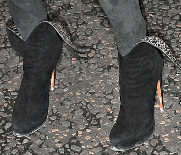 Kate Moss wearing black suede platform ankle boots from Azzedine Alaïa