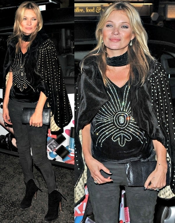 Kate Moss attended Rimmel London's 180th anniversary party in a dangerously sexy and edgy ensemble