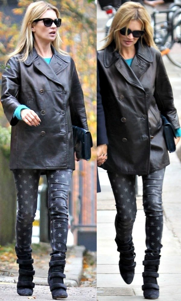 Kate Moss wearing a Mulberry peacoat over a turquoise sweater