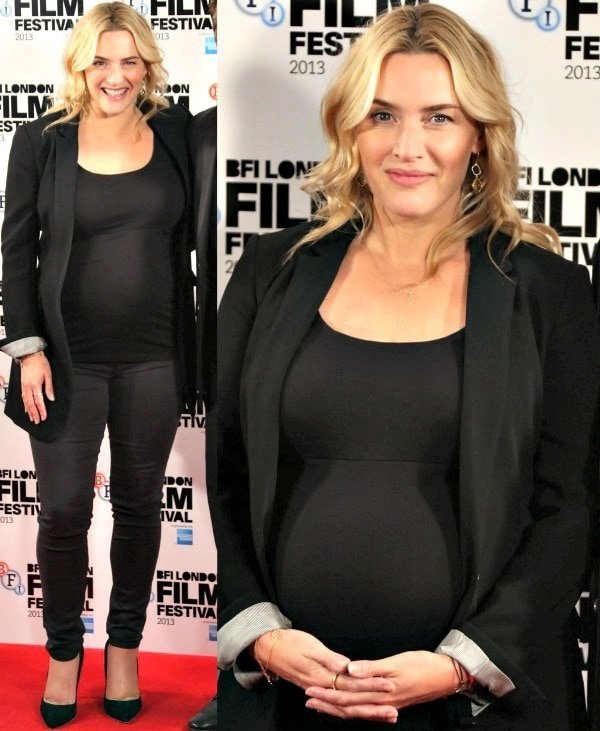 "Kate Winslet sparkled in diamonds and finished off her look with a pair of black suede ""Elba"" pumps from Rupert Sanderson"