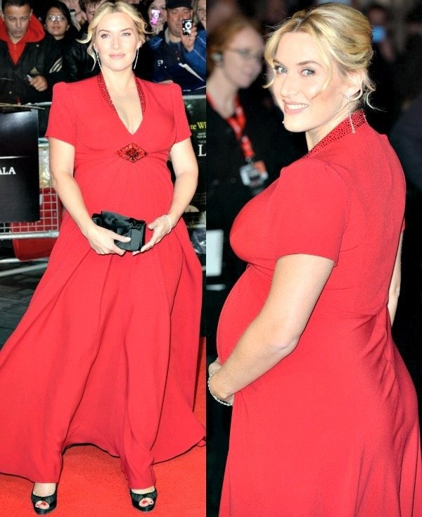 "Kate Winslet wore a gorgeous red dress from Jenny Packham and a pair of ""Ambrosina"" pumps from Christian Louboutin"
