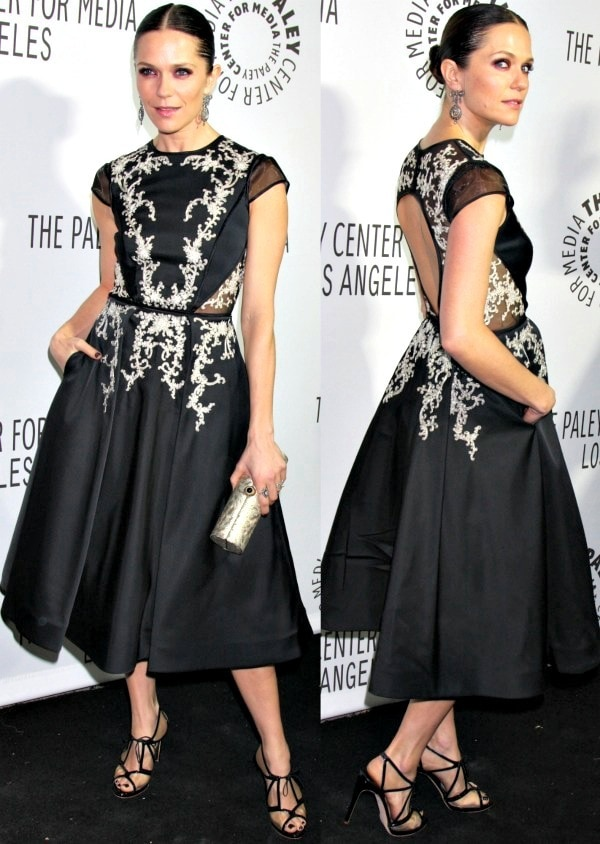 Katie Aselton was easily the best-dressed star at the 2013 Paley Center for Media Benefit Gala in a black Pamella Roland dress that features mesh panels and gorgeous embroidery