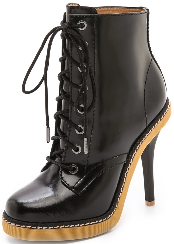 L.A.M.B. offers a sophisticated take on grunge style, crafting leather combat boots with a slim, towering heel