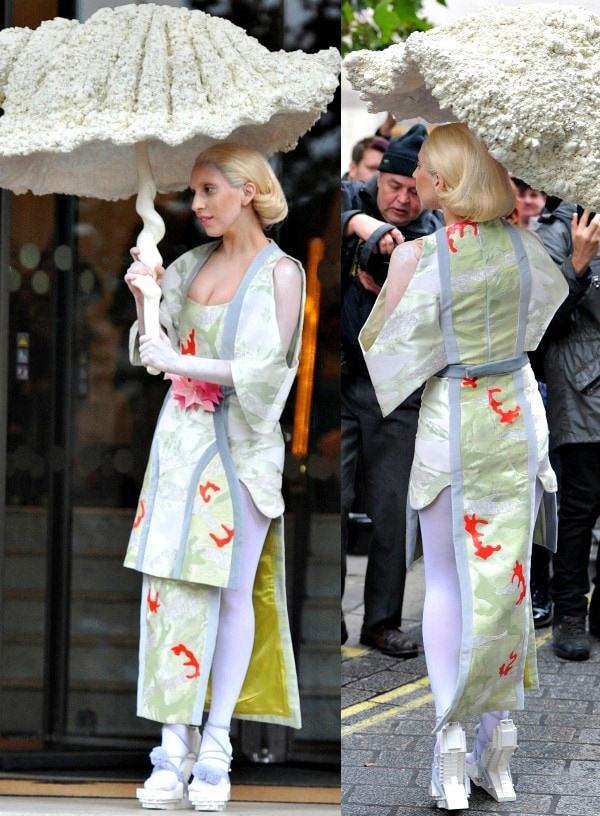 Lady Gaga was spotted leaving her hotel in London dressed as a Japanese geisha in a structured silk dress from Lily Attwood and Spring 2013 white lego heels from Winde Rienstra