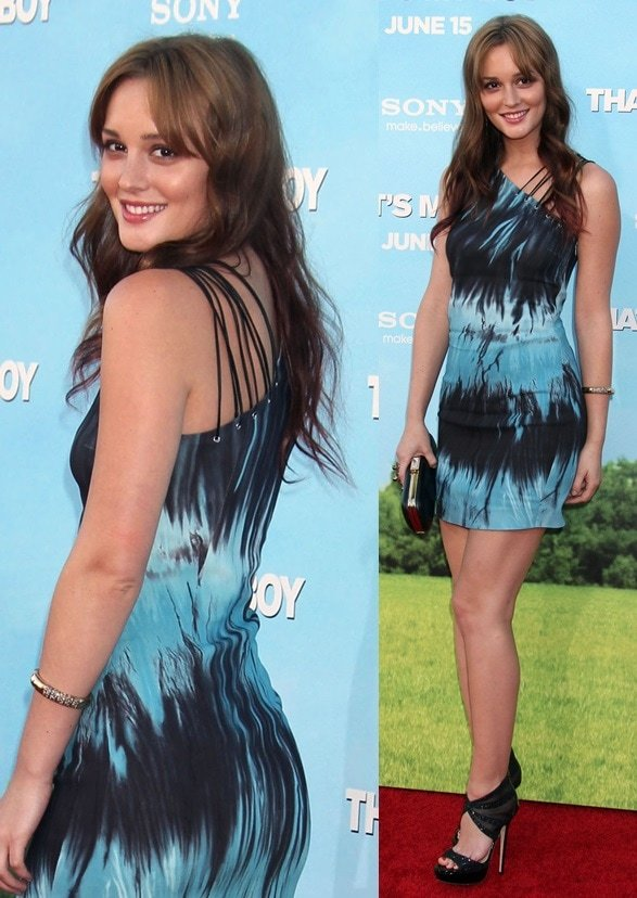 Leighton Meester wears Jimmy Choo for the premiere of her new film 'That's My Boy' at the Regency Village Theatre in Westwood on June 4, 2012