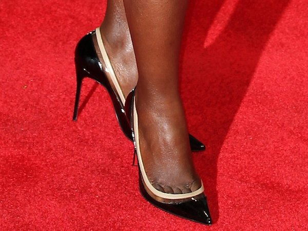 Lupita Nyong'o reveals toe cleavage in Paulina pumps from Christian Louboutin