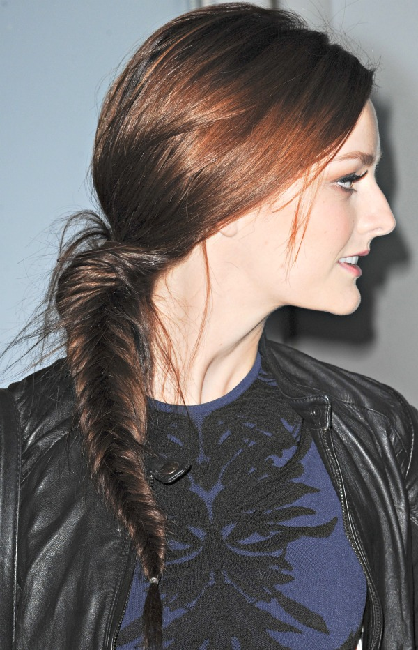 Lydia Hearst with long hair in a fishtail braid