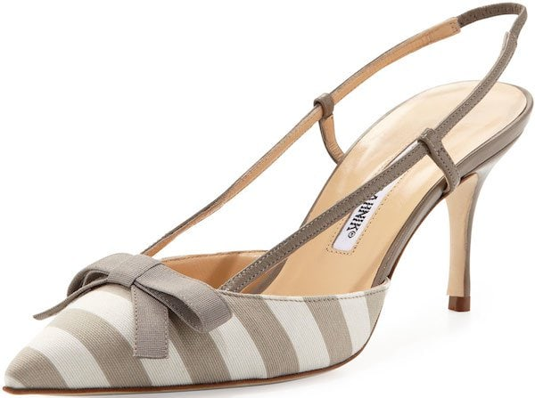"Manolo Blahnik ""Galop"" Striped Canvas Halter Pump"
