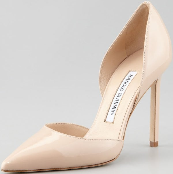 """""""Tayler"""" Patent Pointed D'Orsay Pumps in Nude"""