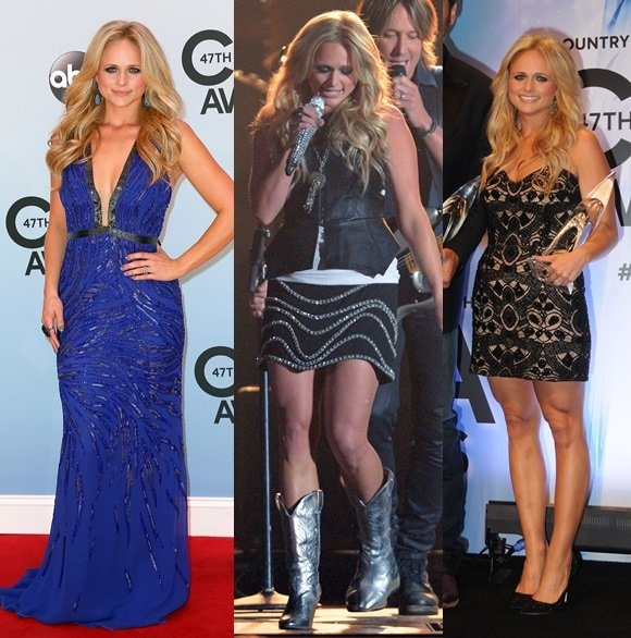 Miranda Lambert shows off her svelte figure in three different outfits at the 47th Annual Country Music Awards