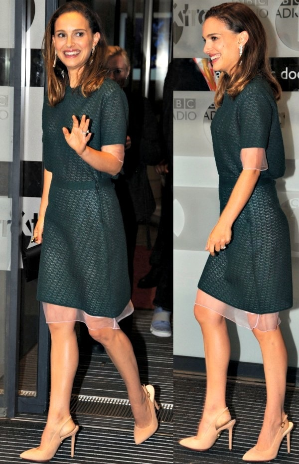 "Natalie Portman wore a forest green dress from Christian Dior and paired it with nude slingback ""Monroe"" pumps from Charlotte Olympia"