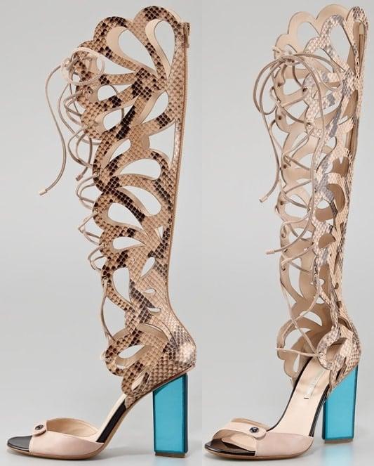 nicholas kirkwood scalloped snakeskin sandals 2-horz