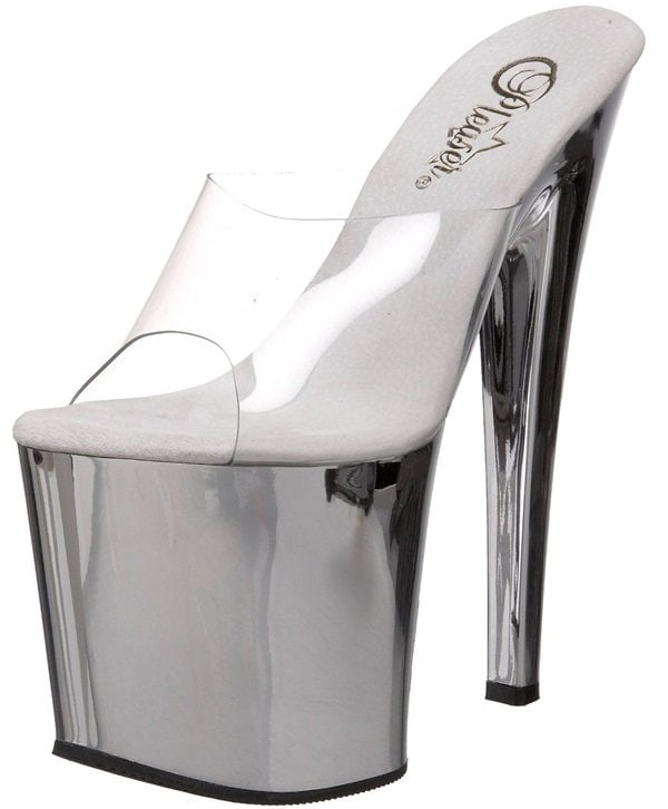 Pleaser Taboo Sandals with Silver Platforms