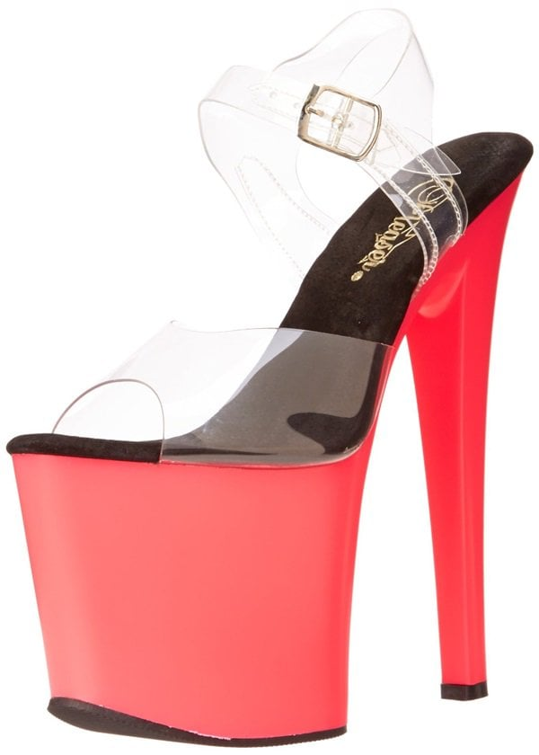 Pleaser Taboo Sandals with Hot Pink Platforms