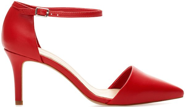 Pull&Bear Ankle-Strap Court Shoe in Red