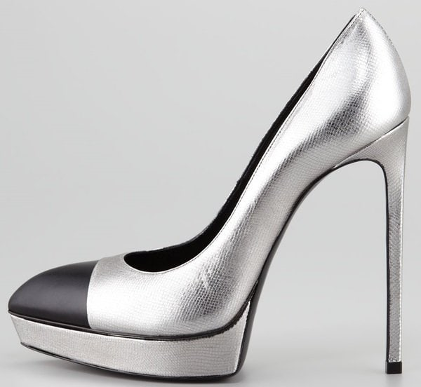 saint laurent janis metallic cap toe pumps