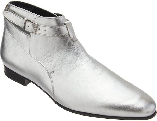 Saint Laurent Silver Cropped Jodhpur Ankle Boot