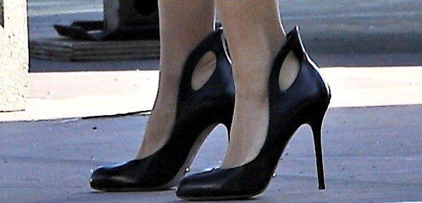 Salma Hayek rocks black shoes by Sergio Rossi