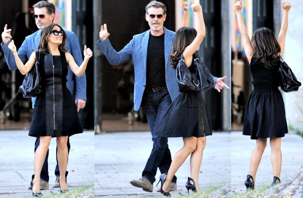 Salma Hayek with co-star Pierce Brosnan on the set of their upcoming film, How to Make Love Like an Englishman, in Los Angeles, California, on October 30, 2013